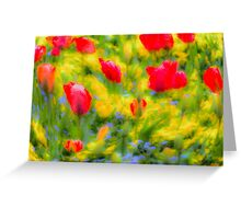 English Summer Flowers Pastel Art Greeting Card