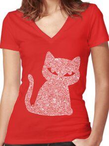 White Ink Rain Cat T-shirt Women's Fitted V-Neck T-Shirt
