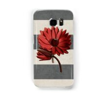 botanical stripes - red water lily Samsung Galaxy Case/Skin