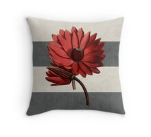 botanical stripes - red water lily Throw Pillow
