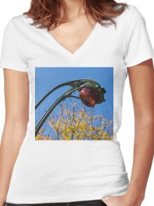 A Flower or a Snake - Sinuously Curved Art Nouveau Light at Paris Metro Women's Fitted V-Neck T-Shirt