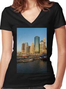 Early Morning Harbor - Lower Manhattan Skyline and South Street Seaport Historic Ships Women's Fitted V-Neck T-Shirt