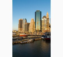 Early Morning Harbor - Lower Manhattan Skyline and South Street Seaport Historic Ships T-Shirt