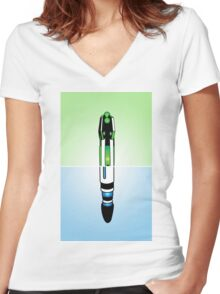 11th Doctor Sonic Screwdriver Women's Fitted V-Neck T-Shirt