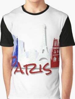 Paris France with French Flag Graphic T-Shirt