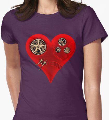 Steampunk Red Clockwork Heart Womens Fitted T-Shirt