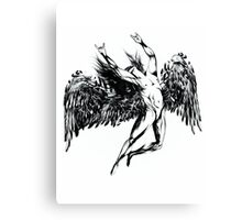 ICARUS THROWS THE HORNS - OIL PAINT BLACK Canvas Print