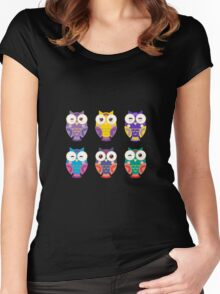 Funny owls on a branch Women's Fitted Scoop T-Shirt