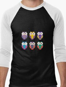 Funny owls on a branch Men's Baseball ¾ T-Shirt