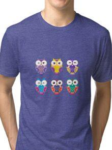 Funny owls on a branch Tri-blend T-Shirt