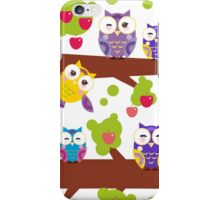 Funny owls on a branch iPhone Case/Skin