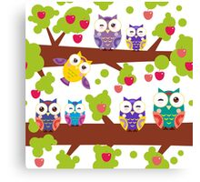 Funny owls on a branch Canvas Print