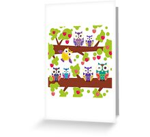 Funny owls on a branch Greeting Card