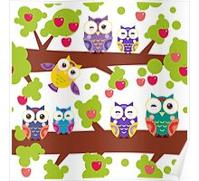 Funny owls on a branch Poster