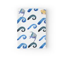 watercolor blue wave pattern Hardcover Journal