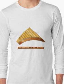 two traditional wooden flutes Long Sleeve T-Shirt