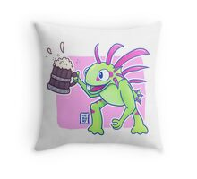 Beer Loving Murloc Throw Pillow