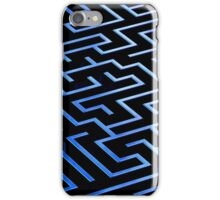 Blue labyrinth pattern on a black background iPhone Case/Skin