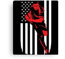 Rugby Player Flag Day Memorial T-shirt Canvas Print