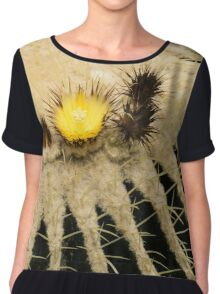 Fascinating Cactus Bloom - Soft and Fragile Among the Thorns Chiffon Top