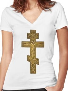 antique bronze cross with crucified Christ  Women's Fitted V-Neck T-Shirt