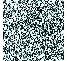 blue waves pattern, doodle hand draw pattern Photographic Print