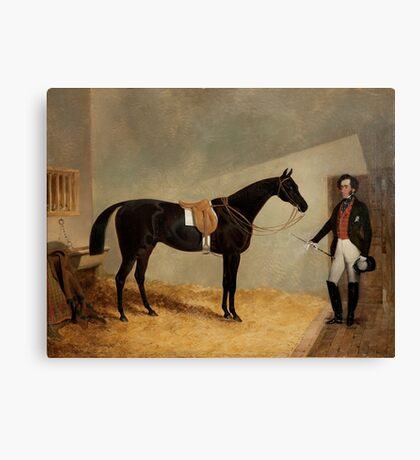 JOHN FREDERICK HERRING (SENIOR)  Miller - A Dark Bay Horse with Groom in Stable Canvas Print