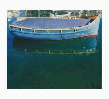 Crystal Clear Mediterranean Blue - Sea Boy at Anchor Kids Tee