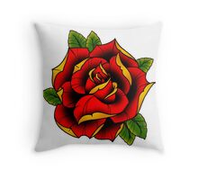 Neotraditional Rose in Red Throw Pillow