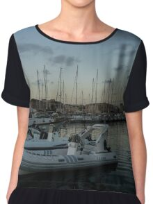 As the Evening Gently Comes - Ortygia, Syracuse, Sicily Grand Harbor  Chiffon Top