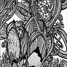 Crocus - Ink Drawing by Danielle Scott