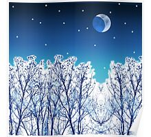 White Woods Snow Poster