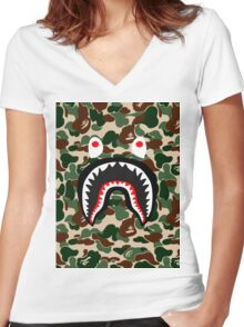 shark army Women's Fitted V-Neck T-Shirt