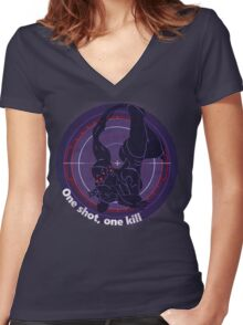 One shot, one kill Women's Fitted V-Neck T-Shirt