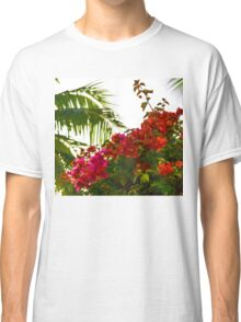 Tropical Impressions - Bougainvilleas and Palm Fronds in the Sky Classic T-Shirt