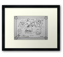 Elder Scrolls map in ink Framed Print