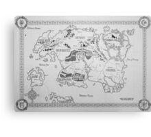 Elder Scrolls map in ink Metal Print