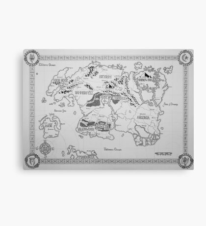 Elder Scrolls map in ink Canvas Print