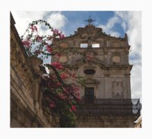 Sunlit Pink Bougainvillea at Santa Lucia alla Badia Church in Syracuse, Sicily One Piece - Short Sleeve