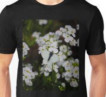 White Butterfly & White Flowers Unisex T-Shirt
