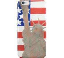 Patriotic Statue of Liberty With American Flag Backdrop iPhone Case/Skin
