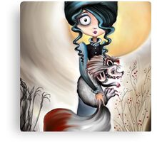 Goth Girl and Silver Fox - Beastly Creatures Canvas Print
