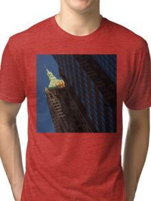 Manhattan Skyscraper Canyons - Early Sunshine in the Financial District Tri-blend T-Shirt