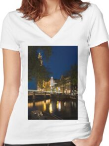 Magical Amsterdam Night - Westerkerk Through the Trees Women's Fitted V-Neck T-Shirt