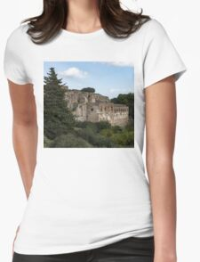 A Peaceful Italian Afternoon - Ancient Pompeii Ruins From a Verdant Park Womens Fitted T-Shirt