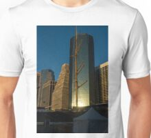 Manhattan Sunrise Reflection Through Masts and Rigging Unisex T-Shirt