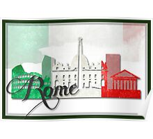 Rome Italy with Italian Flag Art Poster