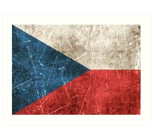 Vintage Aged and Scratched Czech Republic Flag Art Print