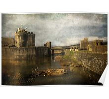Inner Moat At Caerphilly Castle Poster
