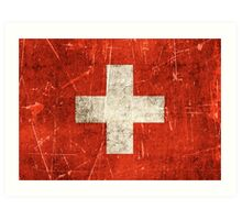 Vintage Aged and Scratched Swiss Flag Art Print
